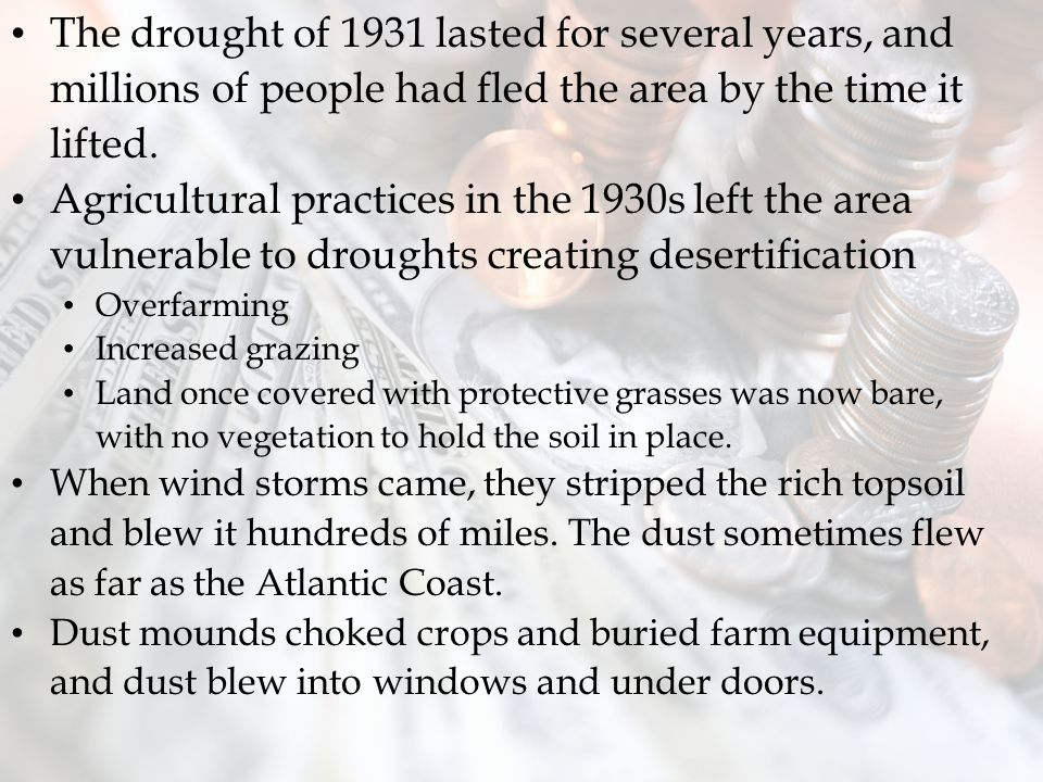 The drought of 1931 lasted for several years, and millions of people had fled the area by the time it lifted.