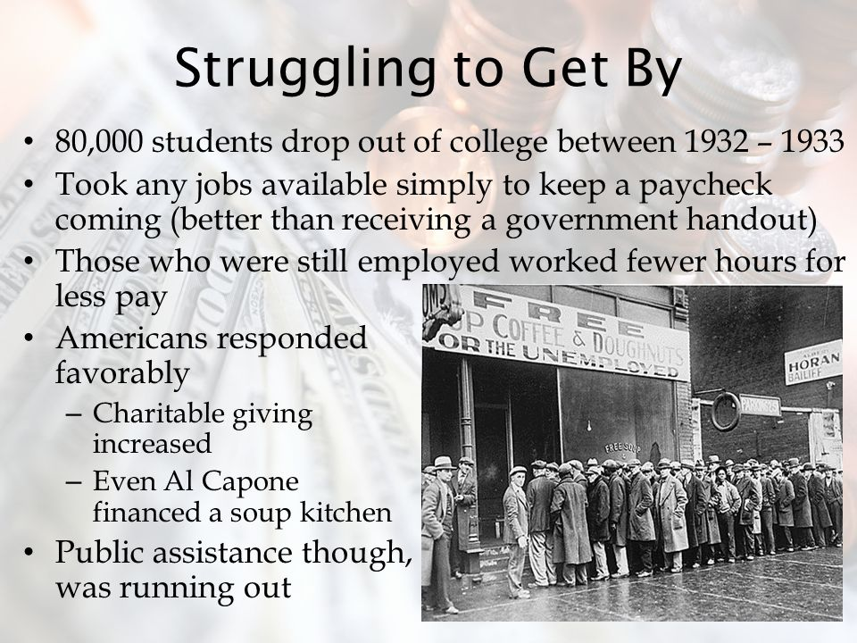 Struggling to Get By 80,000 students drop out of college between 1932 – 1933.