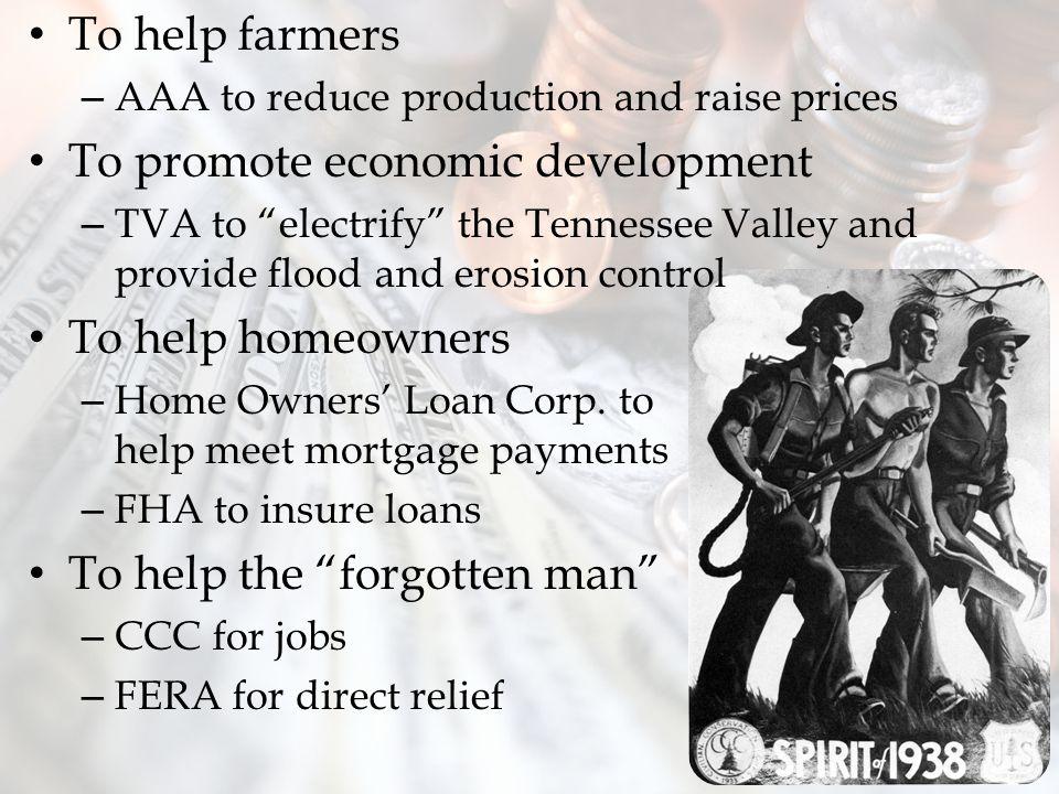 To promote economic development