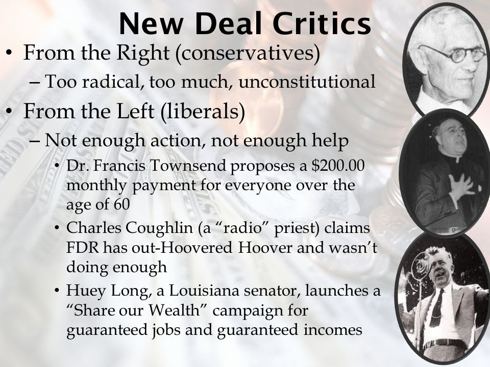 New Deal Critics From the Right (conservatives)