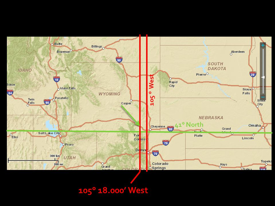 105 ° West 41° North 105° 18.000' West