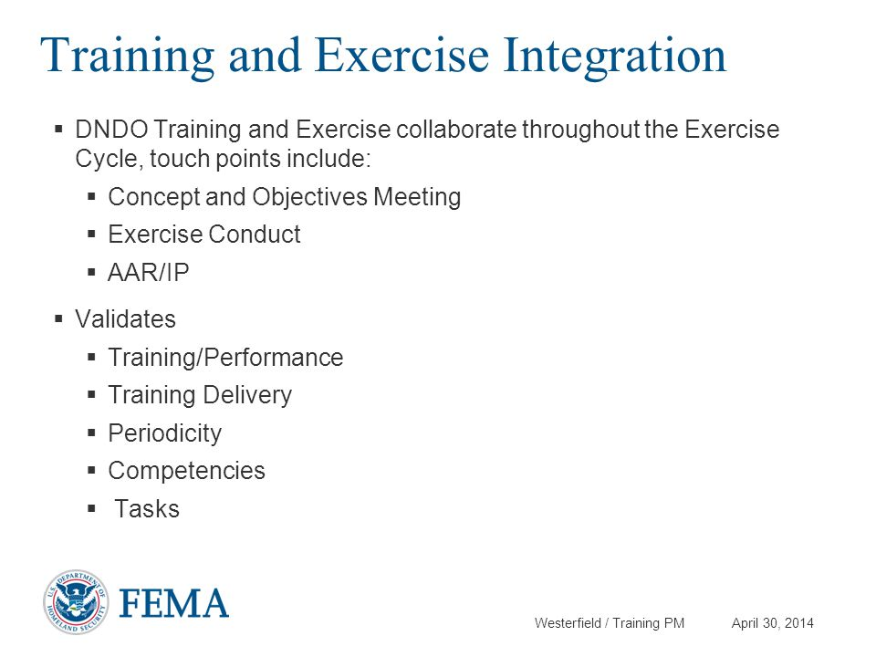 Training and Exercise Integration