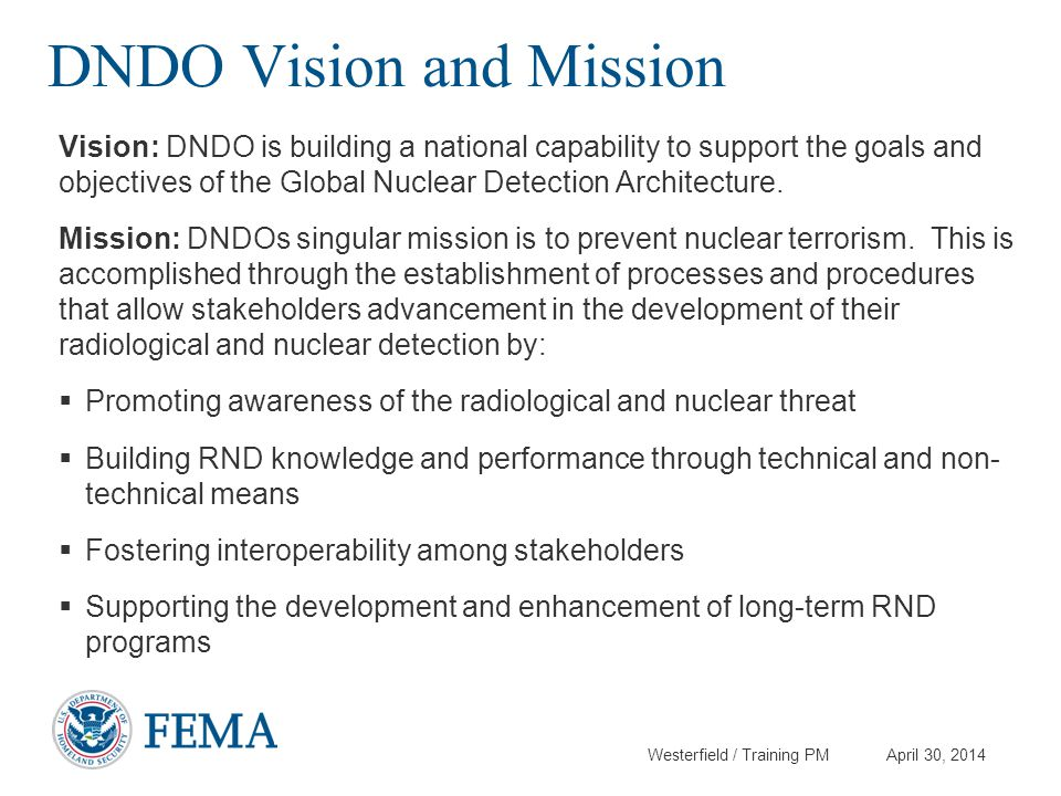 DNDO Vision and Mission