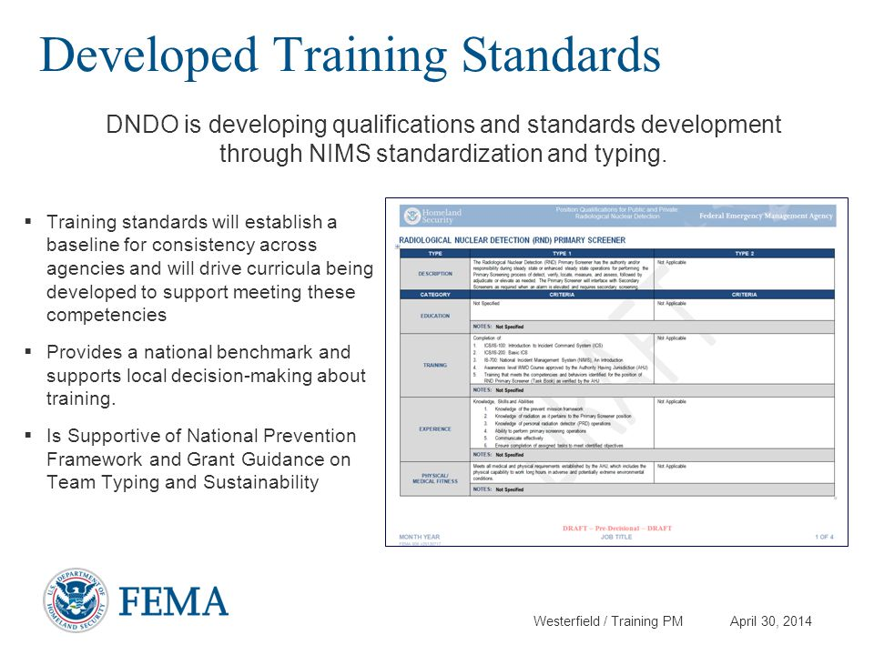Developed Training Standards