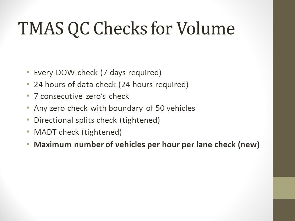 TMAS QC Checks for Volume