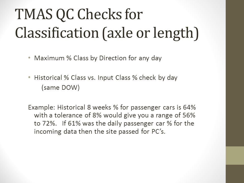 TMAS QC Checks for Classification (axle or length)