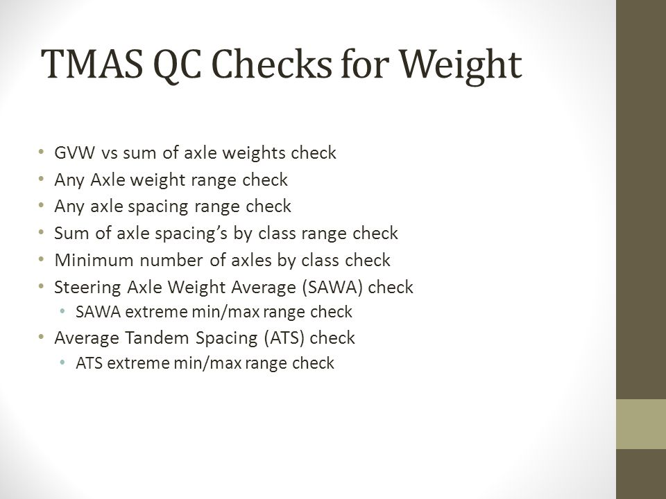 TMAS QC Checks for Weight