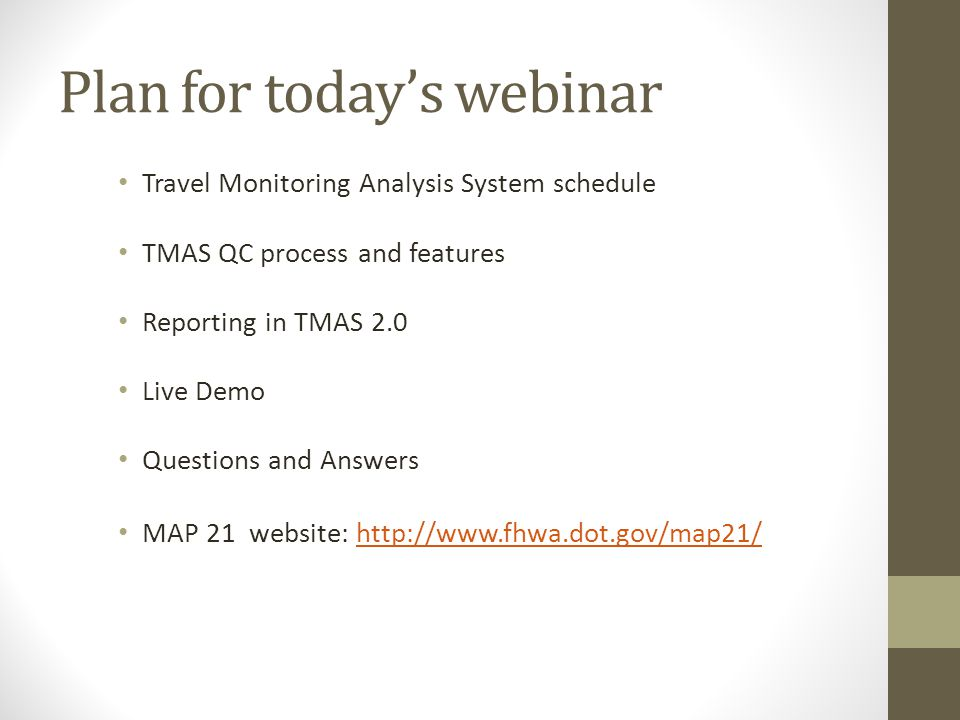 Plan for today's webinar