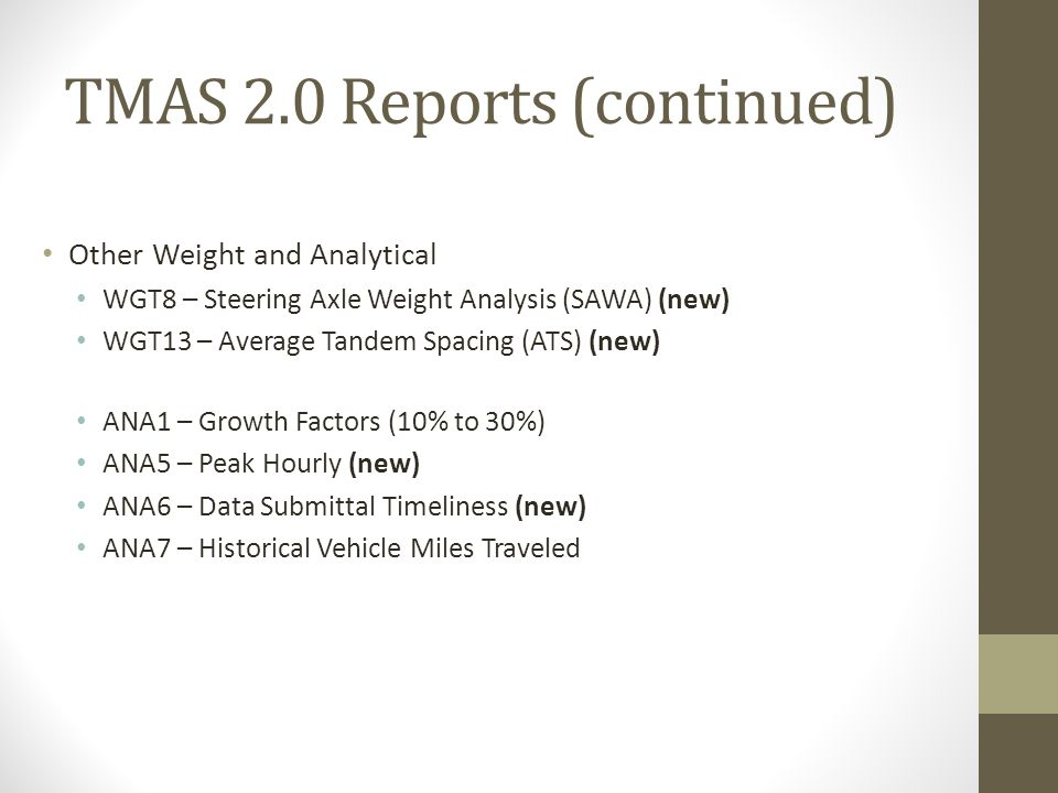 TMAS 2.0 Reports (continued)