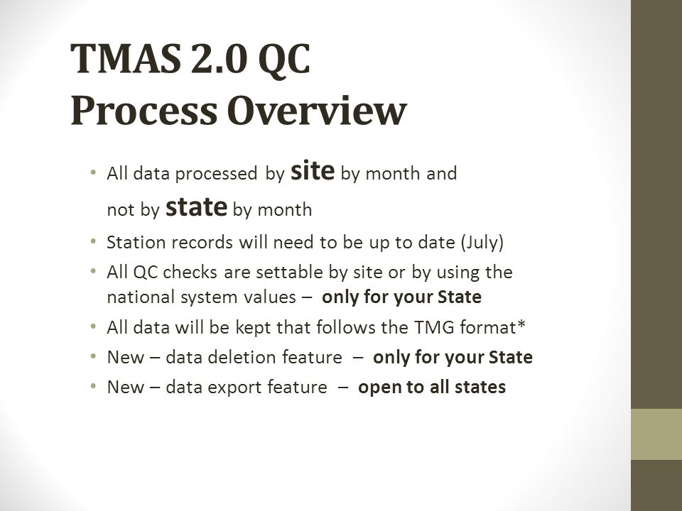 TMAS 2.0 QC Process Overview