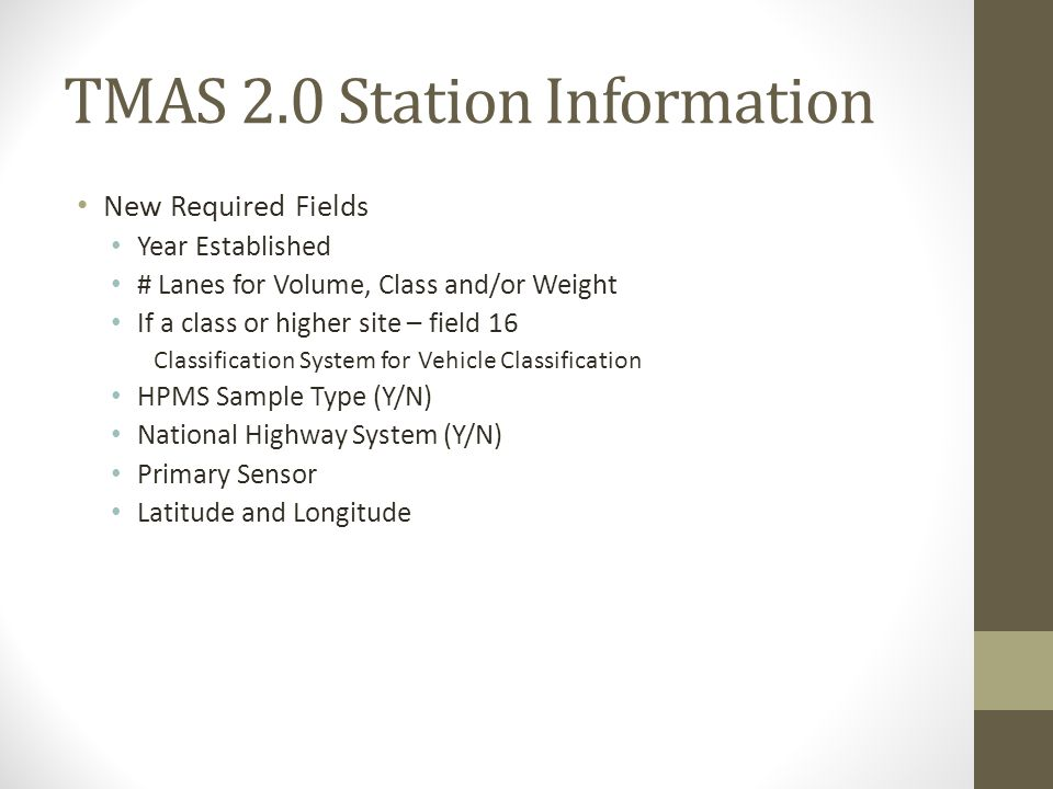 TMAS 2.0 Station Information