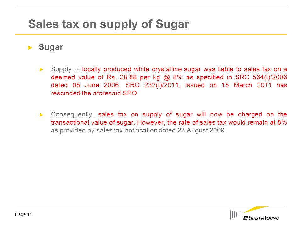 Sales tax on supply of Sugar