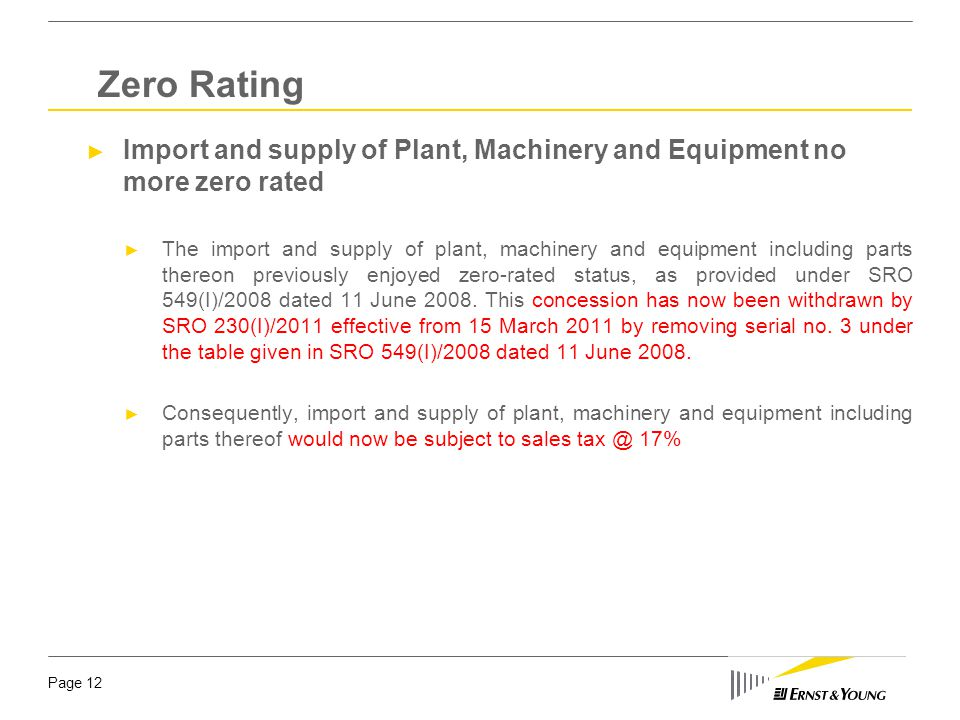 Zero Rating Import and supply of Plant, Machinery and Equipment no more zero rated.