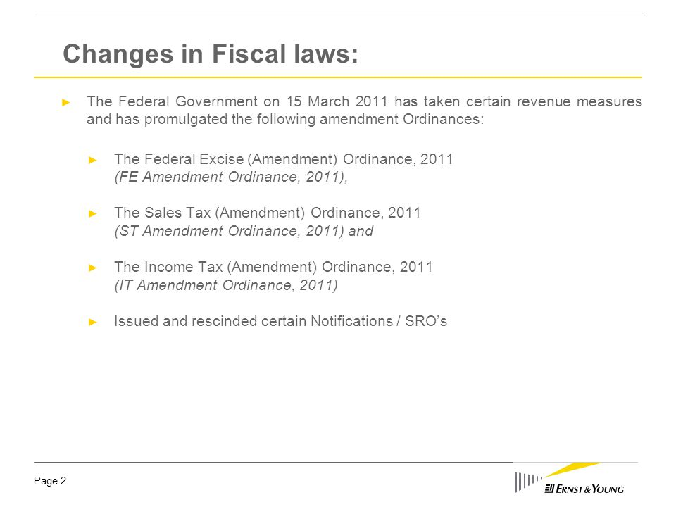 The Federal Excise (Amendment) Ordinance, 2011