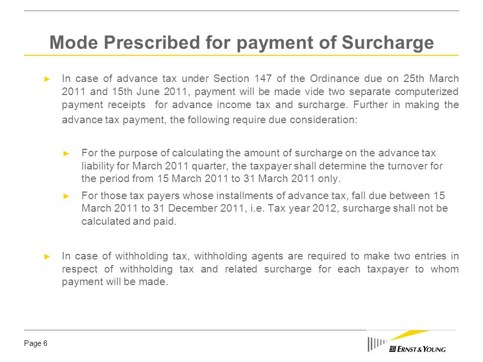 Mode Prescribed for payment of Surcharge