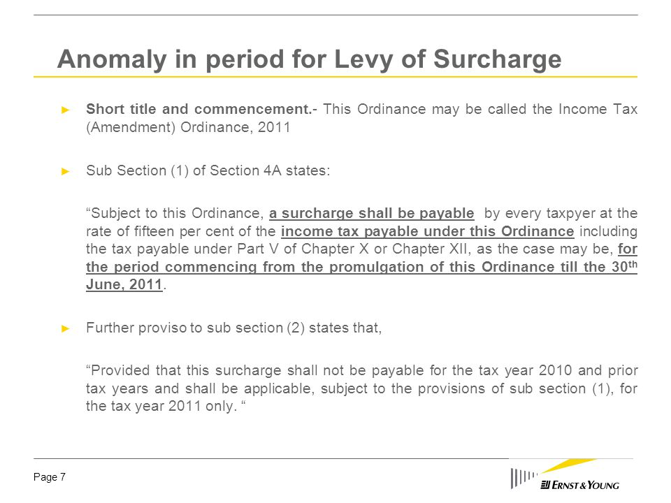 Anomaly in period for Levy of Surcharge