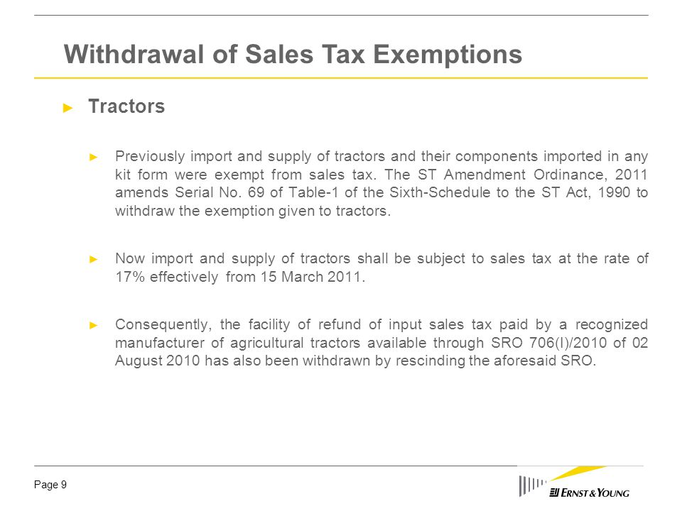 Withdrawal of Sales Tax Exemptions