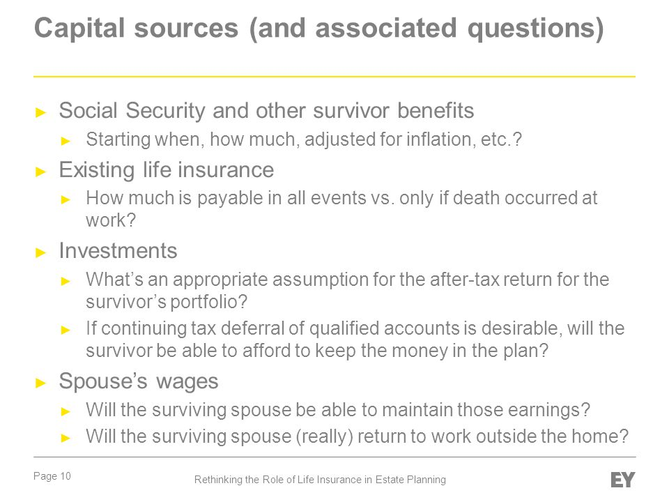 Capital sources (and associated questions)