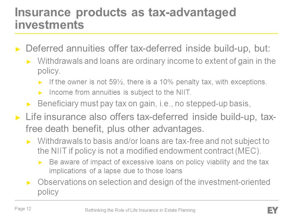 Insurance products as tax-advantaged investments