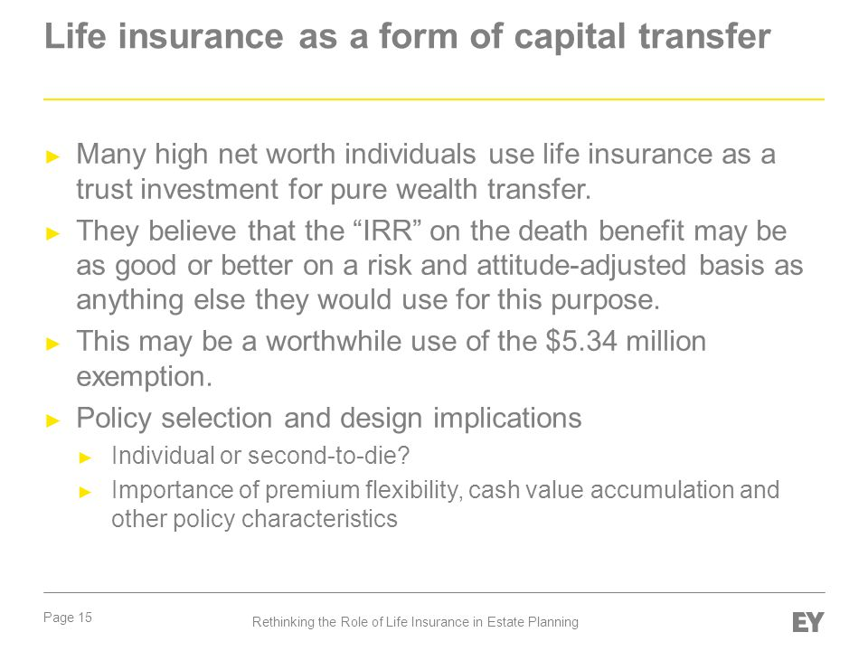 Life insurance as a form of capital transfer