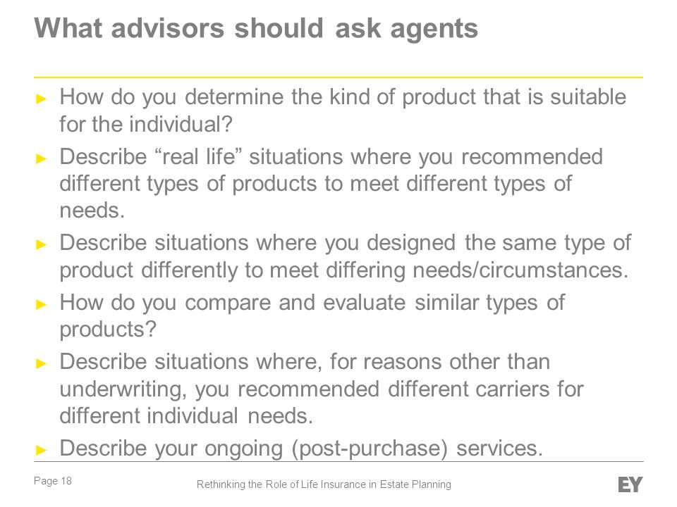 What advisors should ask agents