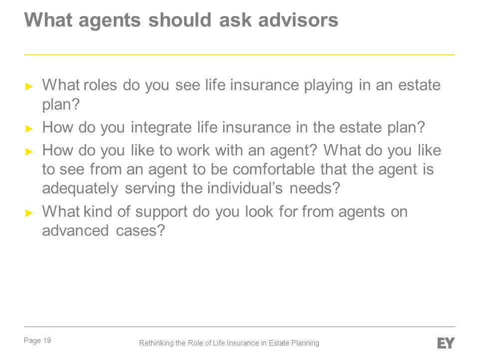 What agents should ask advisors