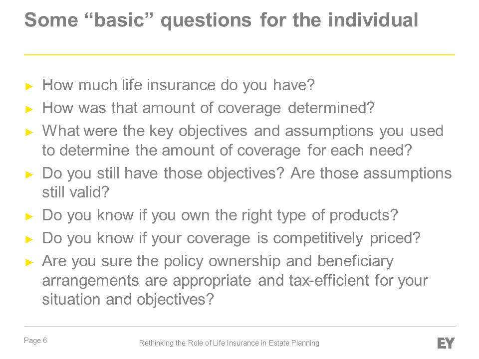 Some basic questions for the individual
