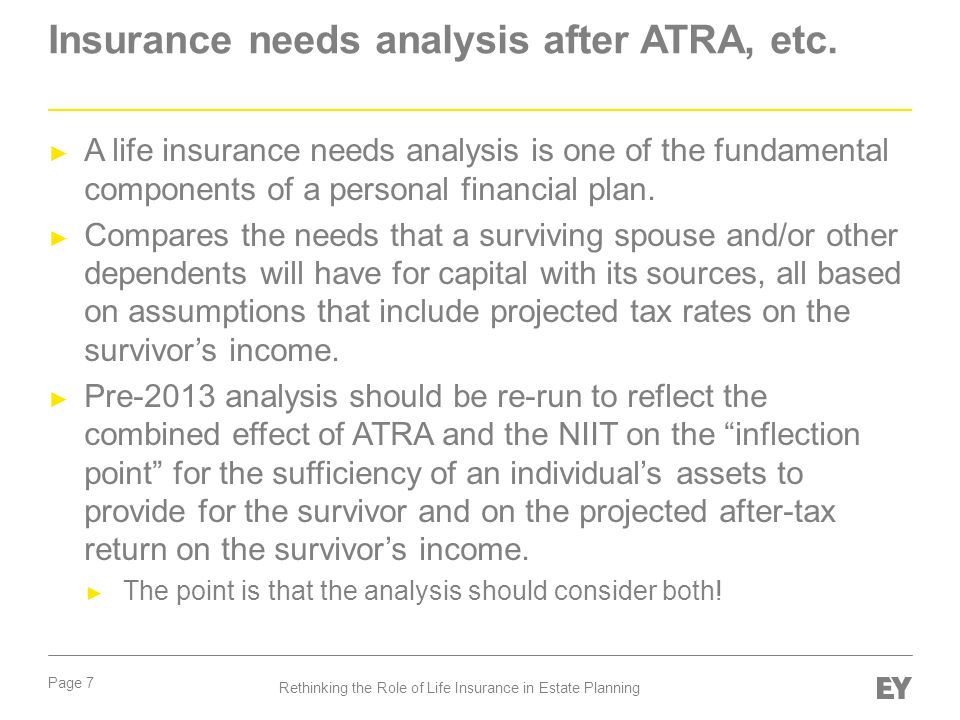 Insurance needs analysis after ATRA, etc.