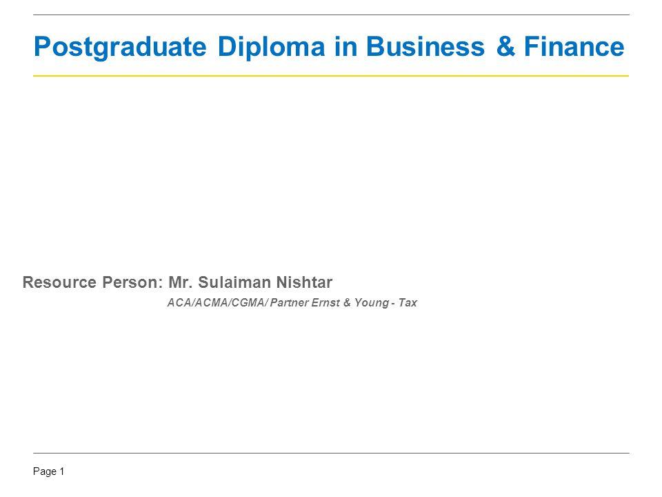 Postgraduate Diploma in Business & Finance
