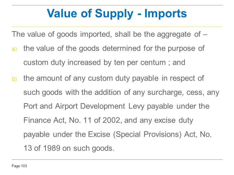Value of Supply - Imports