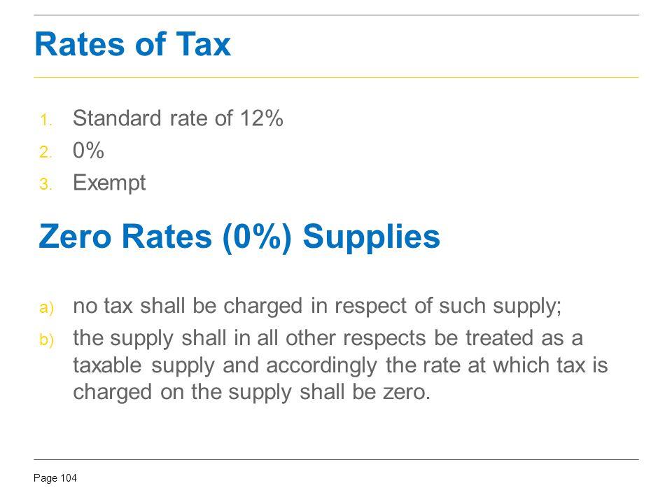 Zero Rates (0%) Supplies