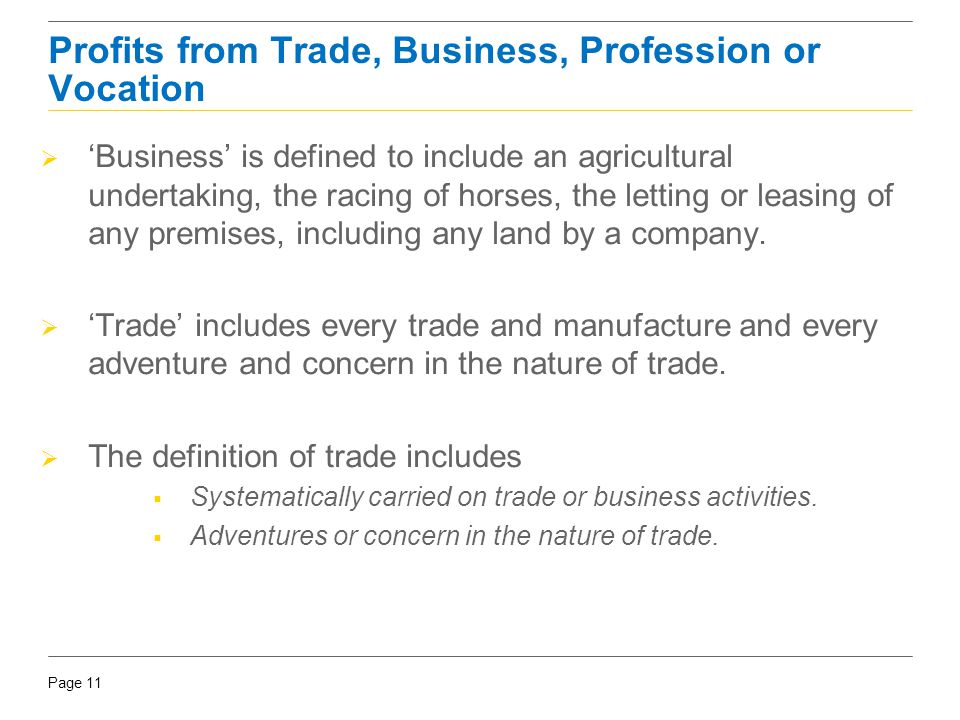 Profits from Trade, Business, Profession or Vocation