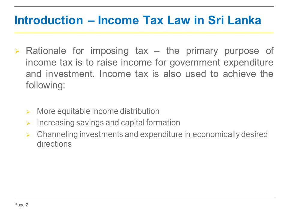 Introduction – Income Tax Law in Sri Lanka