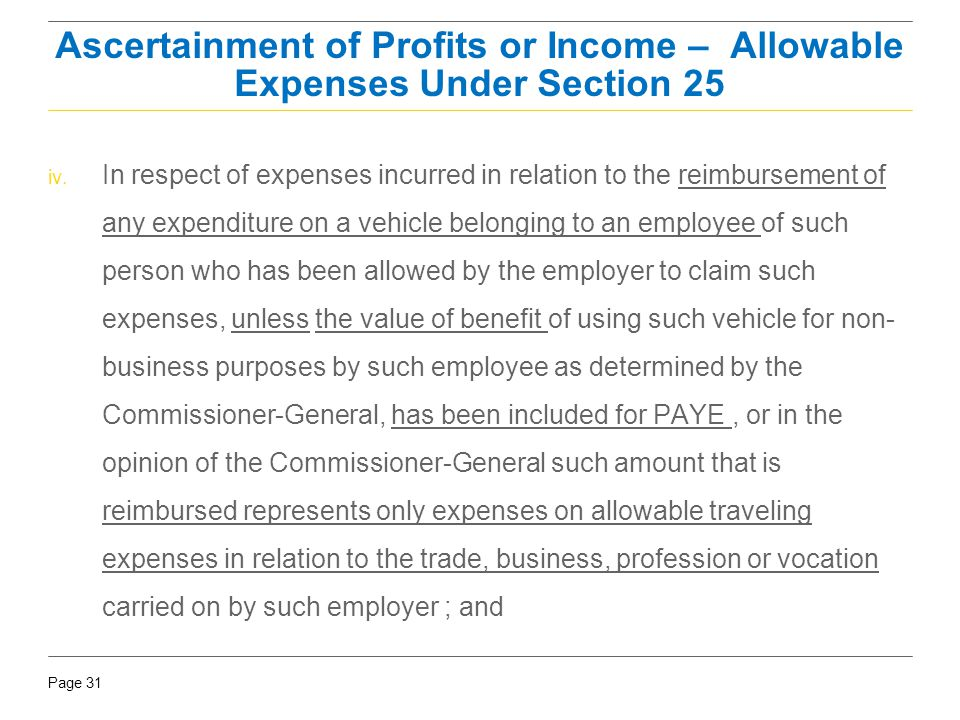 Ascertainment of Profits or Income – Allowable Expenses Under Section 25