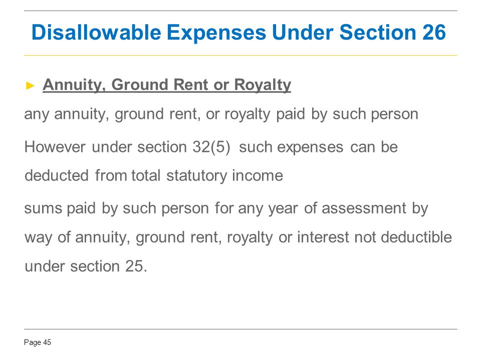 Disallowable Expenses Under Section 26