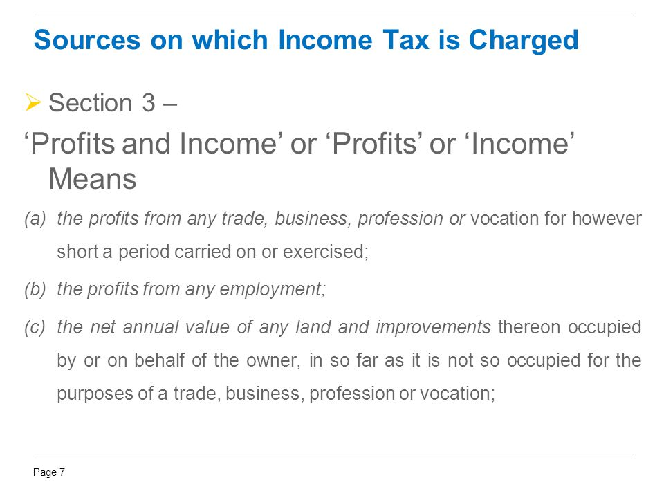 Sources on which Income Tax is Charged