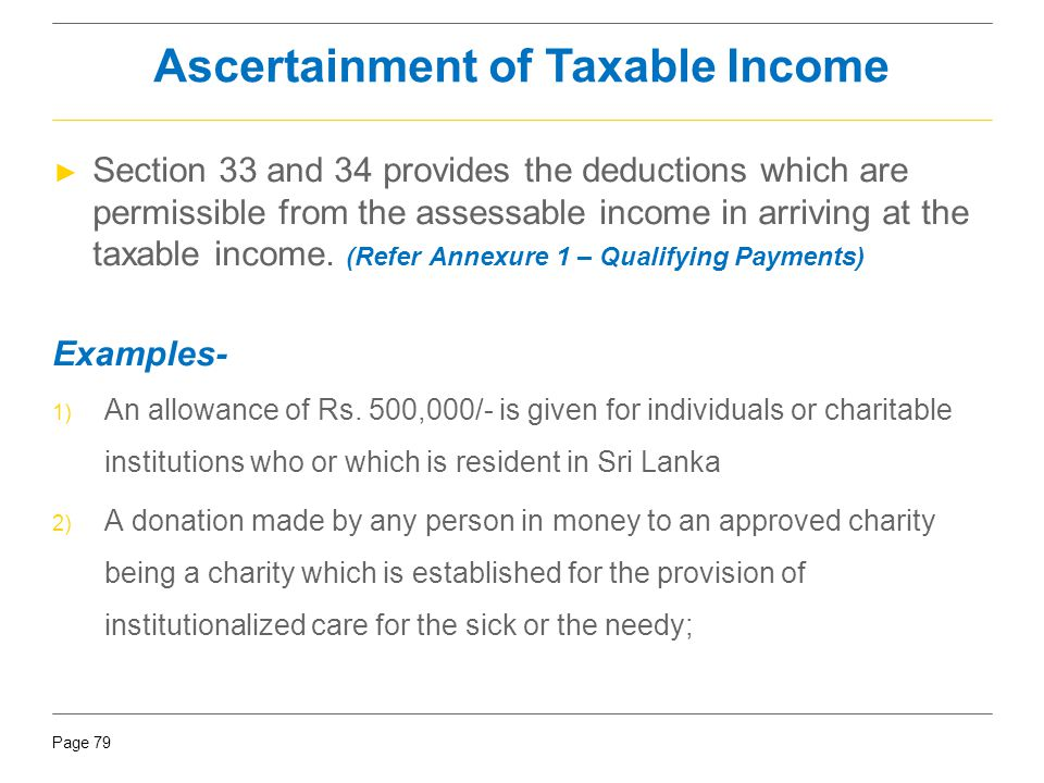 Ascertainment of Taxable Income