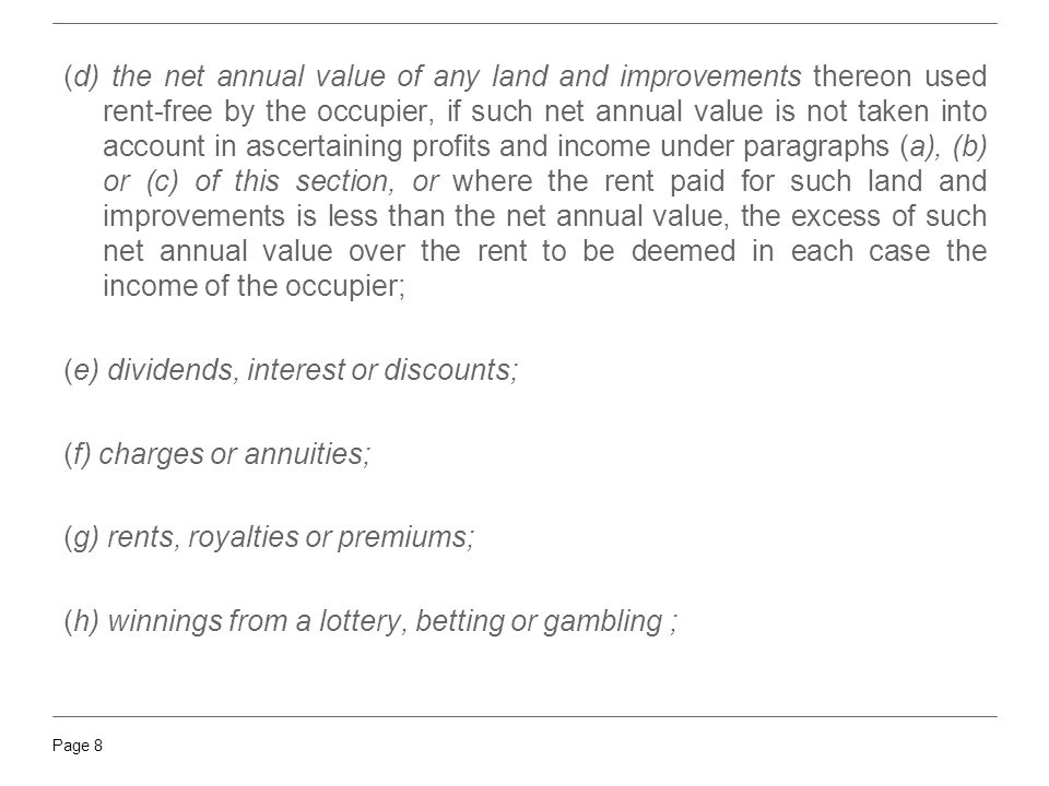 (d) the net annual value of any land and improvements thereon used rent-free by the occupier, if such net annual value is not taken into account in ascertaining profits and income under paragraphs (a), (b) or (c) of this section, or where the rent paid for such land and improvements is less than the net annual value, the excess of such net annual value over the rent to be deemed in each case the income of the occupier;