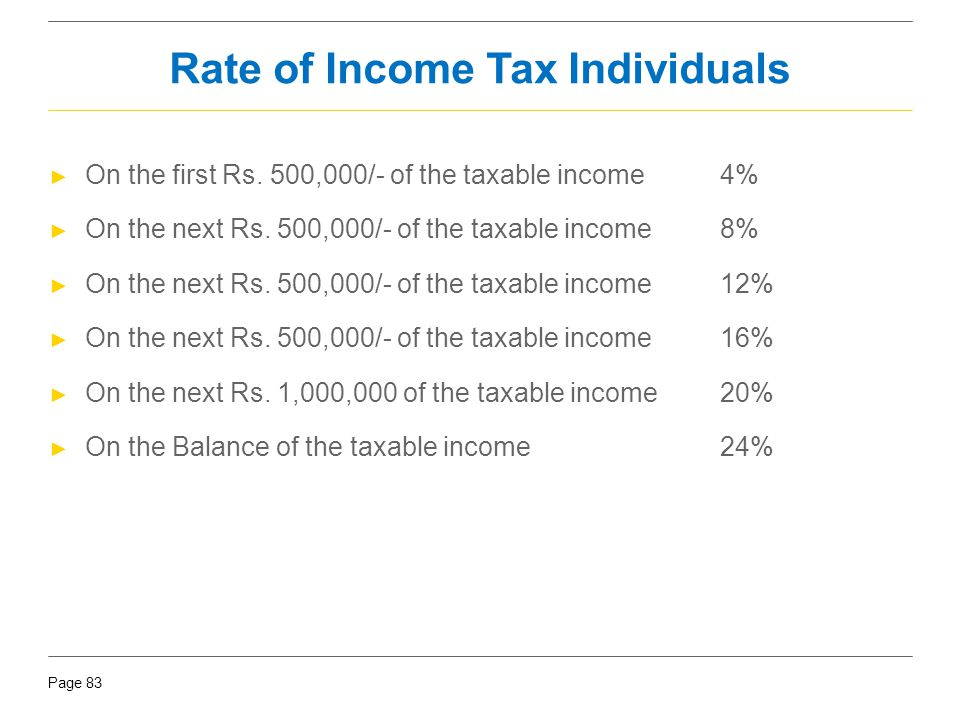 Rate of Income Tax Individuals