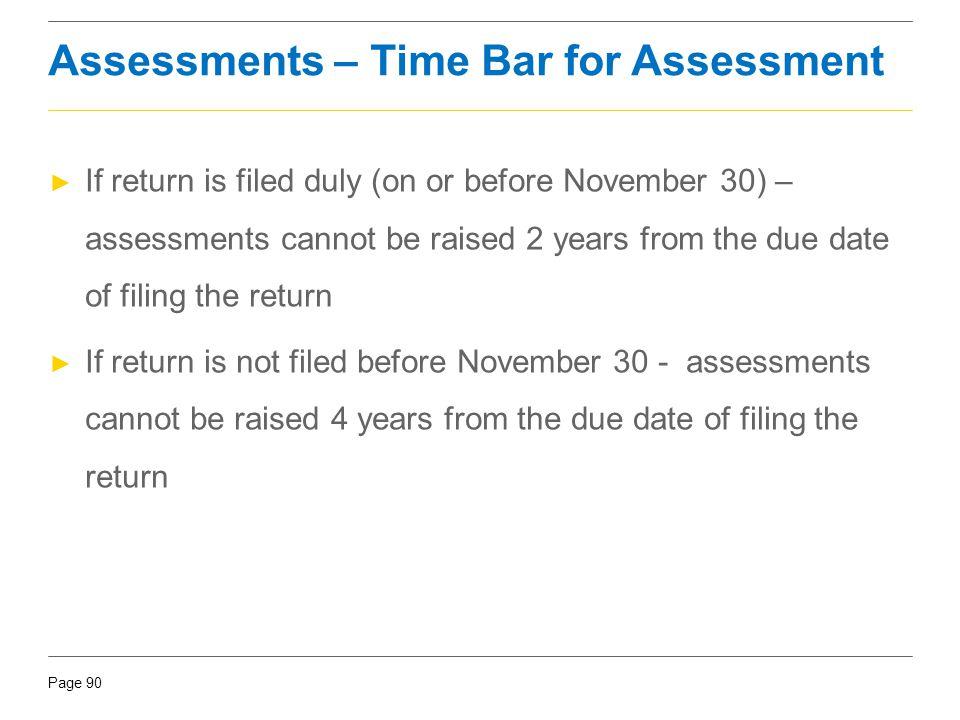 Assessments – Time Bar for Assessment