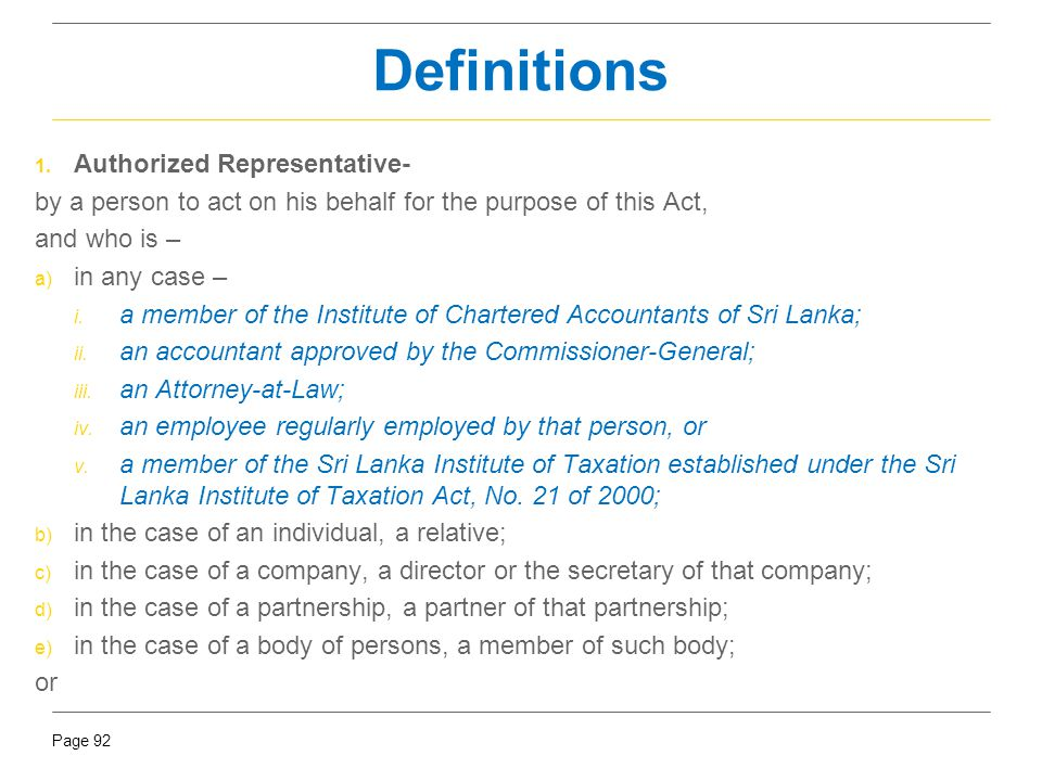 Definitions Authorized Representative-