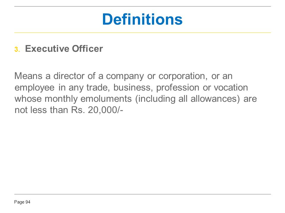 Definitions Executive Officer
