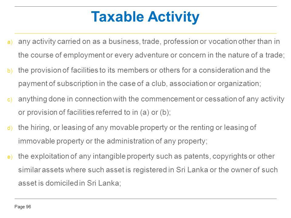 Taxable Activity