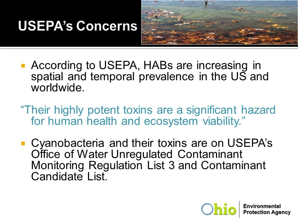 USEPA's Concerns According to USEPA, HABs are increasing in spatial and temporal prevalence in the US and worldwide.