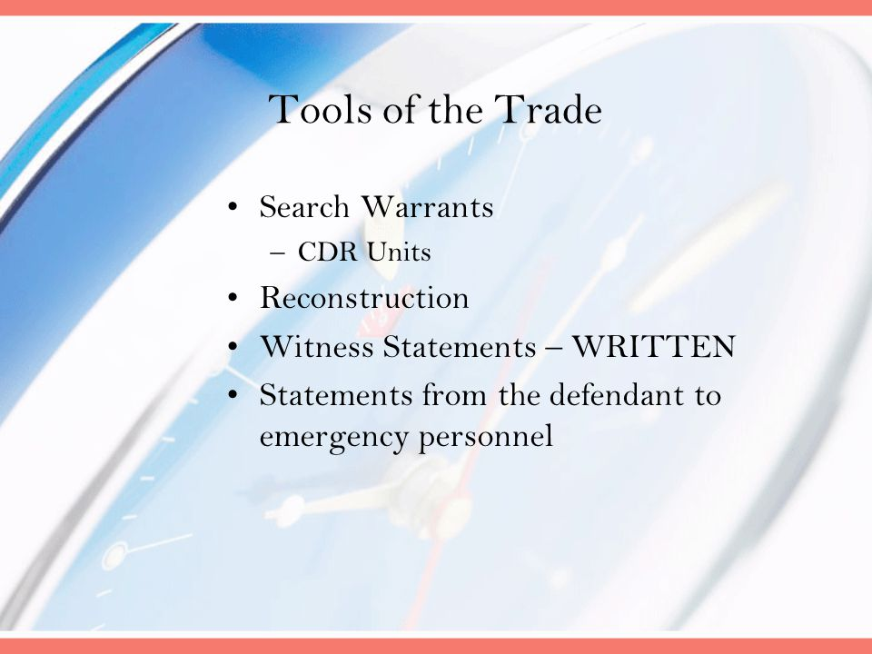 Tools of the Trade Search Warrants Reconstruction