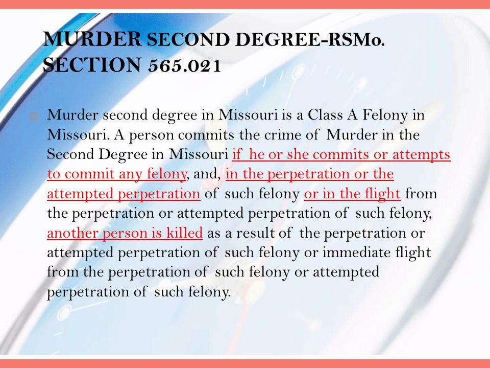 MURDER SECOND DEGREE-RSMo. SECTION 565.021