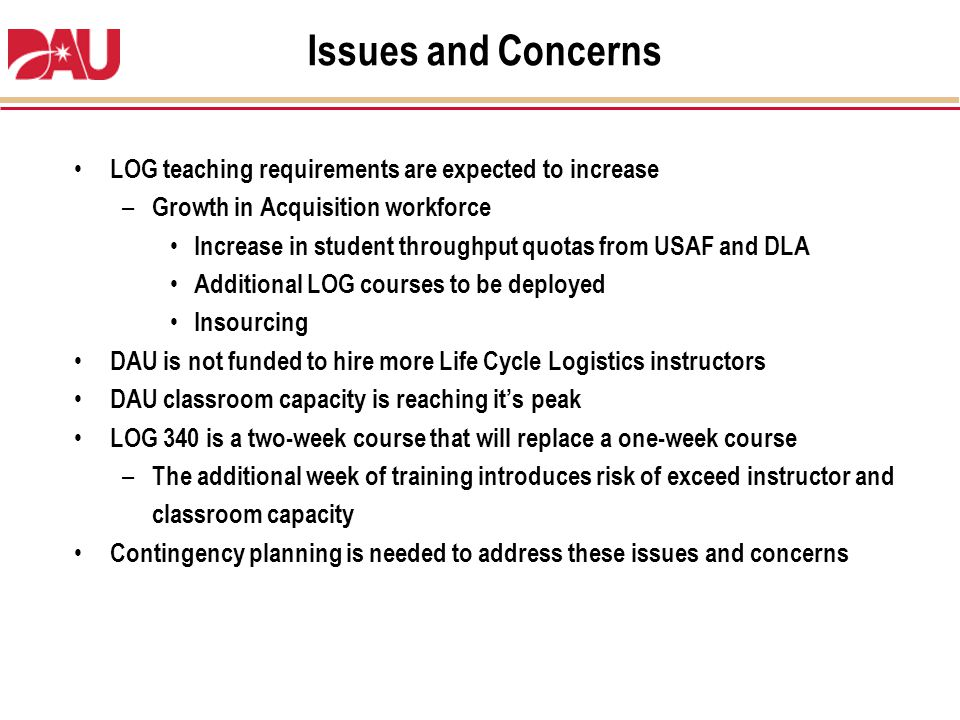 Issues and Concerns LOG teaching requirements are expected to increase