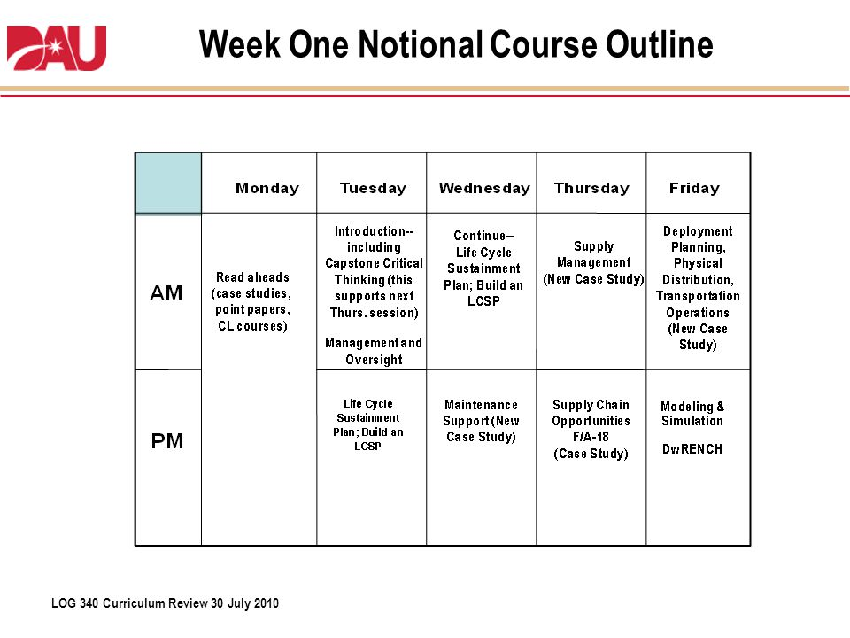 Week One Notional Course Outline