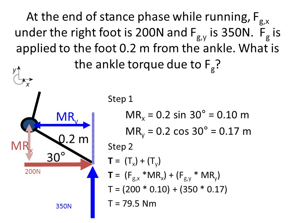 At the end of stance phase while running, Fg,x under the right foot is 200N and Fg,y is 350N. Fg is applied to the foot 0.2 m from the ankle. What is the ankle torque due to Fg