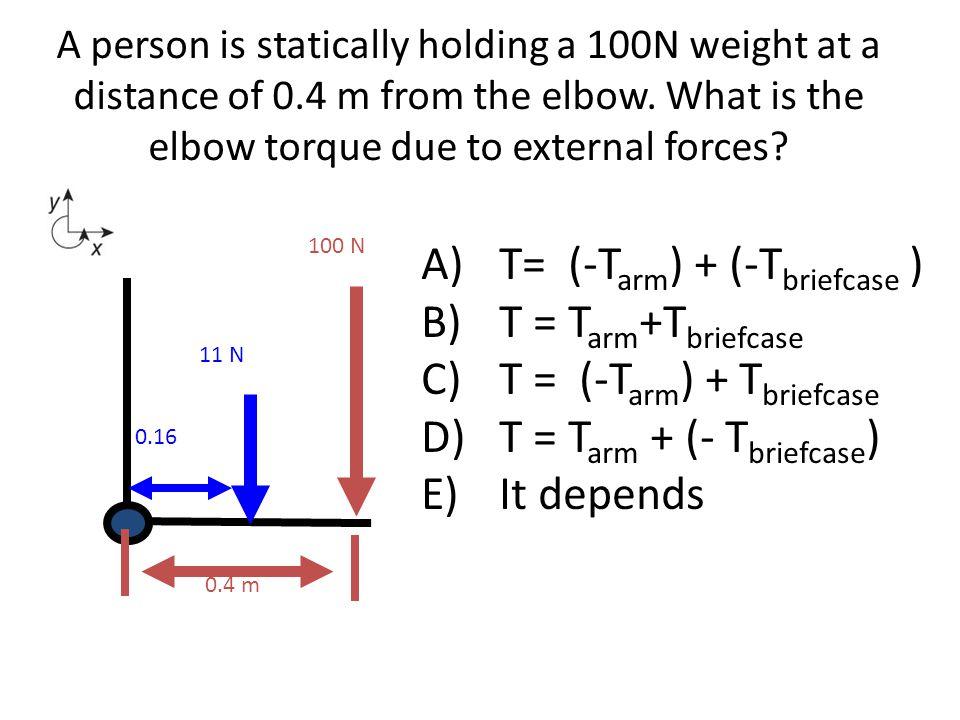 T= (-Tarm) + (-Tbriefcase ) T = Tarm+Tbriefcase